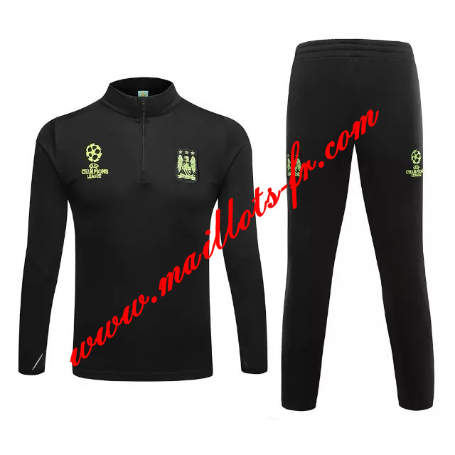 maillots-fr: Champions league Survetement de foot Manchester City Noir 2015 2016