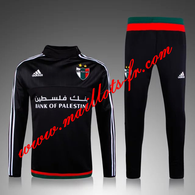 maillots-fr: Survetement de foot Palestine Noir 2015 2016