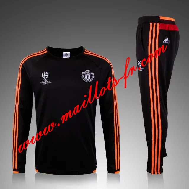 maillots-fr: Champions league Survetement de foot Manchester United Noir 2015 2016