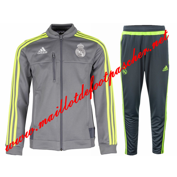 maillots-fr: Nouveau Survetement de Real Madrid Gris N98 Homme 2015 2016
