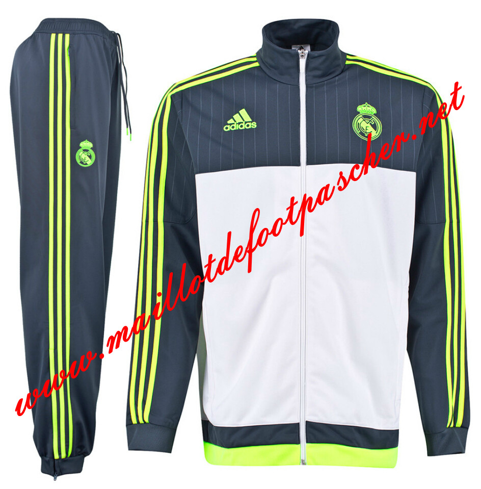 maillots-fr: Nouveau Survetement de Real Madrid Gris/Blanc N98 Homme 2015 2016