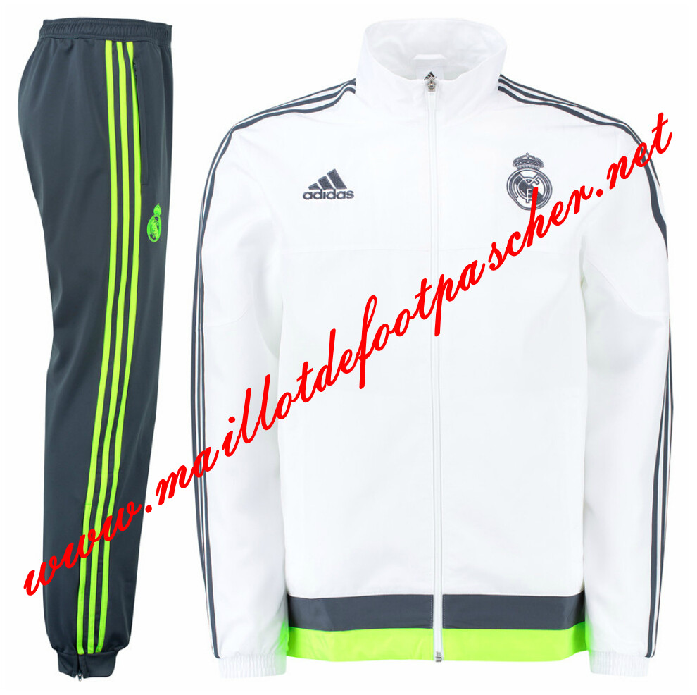 maillots-fr: Nouveau Survetement de Real Madrid Blanc N98 Homme 2015 2016