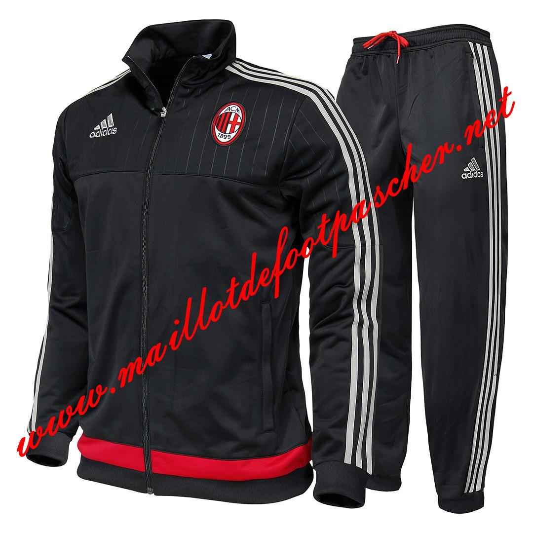 Nouveau Veste de Milan AC Noir N98 Homme 2015 2016