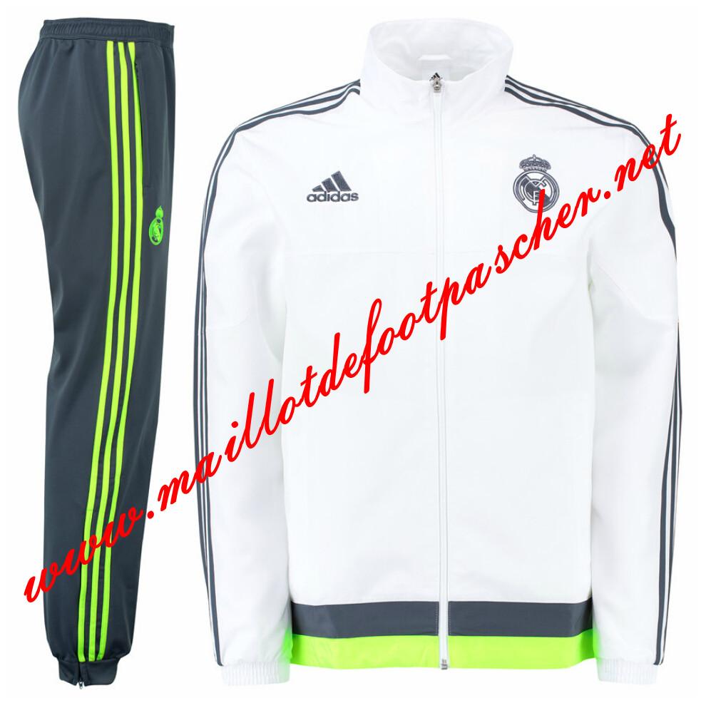 Nouveau Veste de Real Madrid Blanc N98 Homme 2015 2016