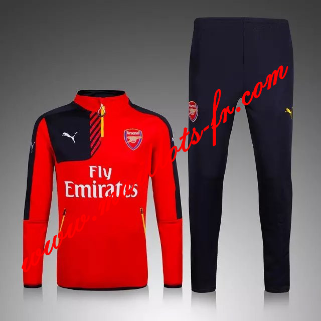 maillots-fr Survetement de foot Arsenal Enfant kit Rouge 2015 2016