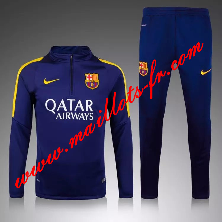 maillots-fr Survetement de foot Barcelone Enfant kit Le bleu Marine 2015 2016