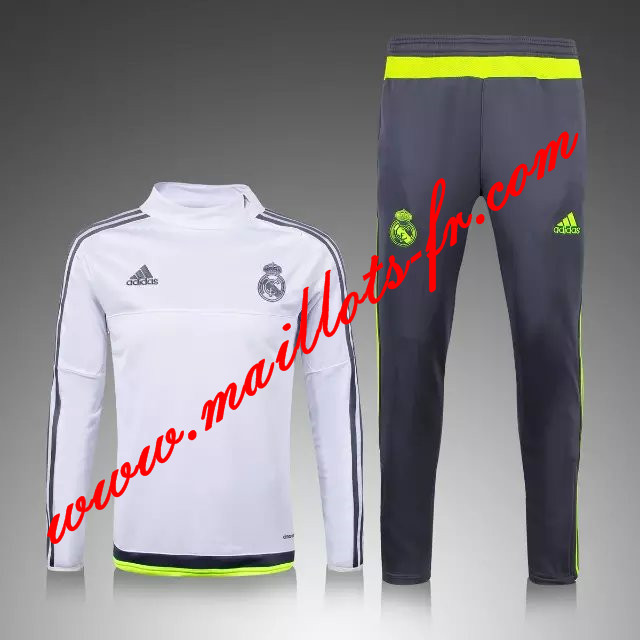 maillots-fr Survetement Real Madrid Enfant kit Blanc 2015 2016