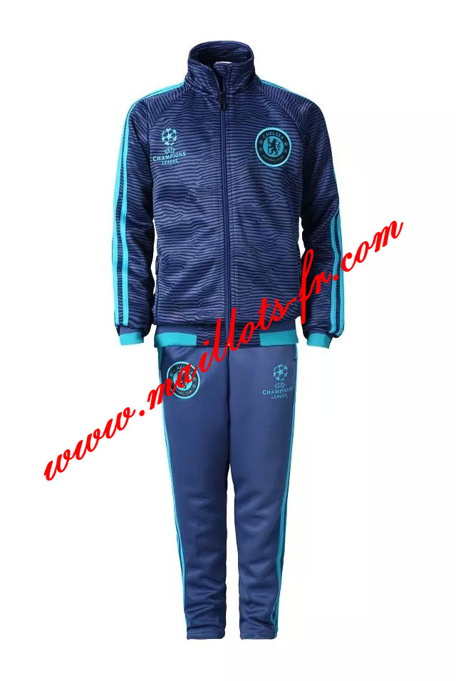 maillots-fr: Champions League Survetement de foot FC Chelsea Enfant Bleu 2015 2016
