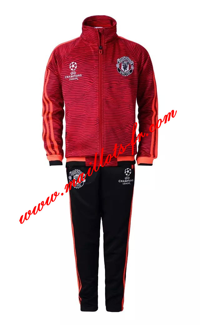 maillots-fr: Champions League Survetement de foot Manchester United Enfant Rouge 2015 2016