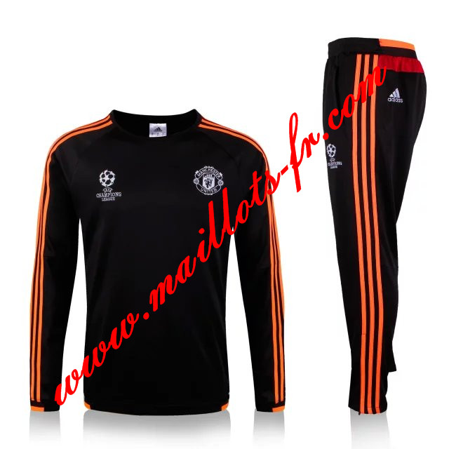 maillots-fr: Nouveau Champions League Survetement foot Manchester United Enfant Noir 2015 2016