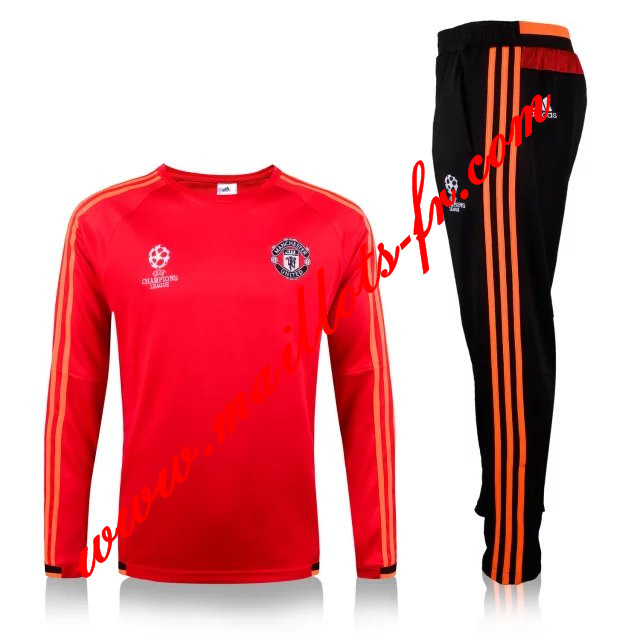 maillots-fr: Nouveau Champions League Survetement foot Manchester United Enfant Rouge 2015 2016