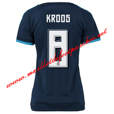 maillots-fr: La Liga Nouveau Maillot foot Real Madrid Femme (KROOS 8) Third 2015 2016