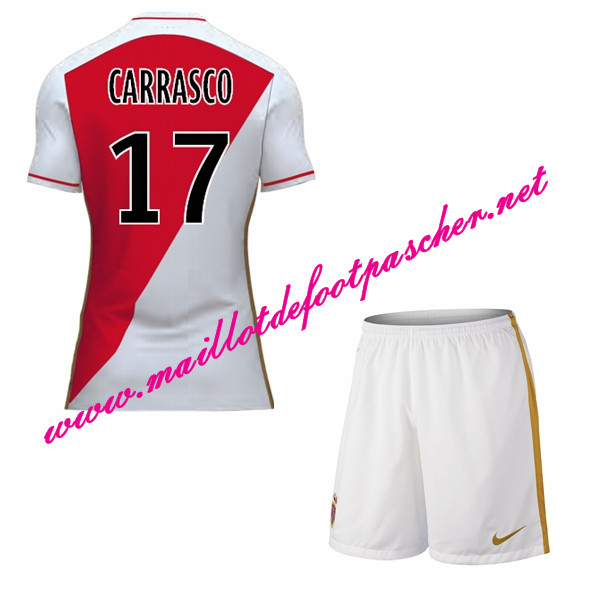 maillots-fr: Officiel Nouveau Maillot foot AS Monaco Enfant Domicile 2015 2016 (CARRASCO 17)