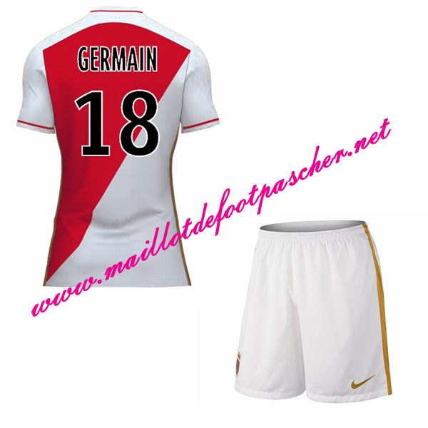 maillots-fr: Officiel Nouveau Maillot foot AS Monaco Enfant Domicile 2015 2016 (GERMAIN 18)