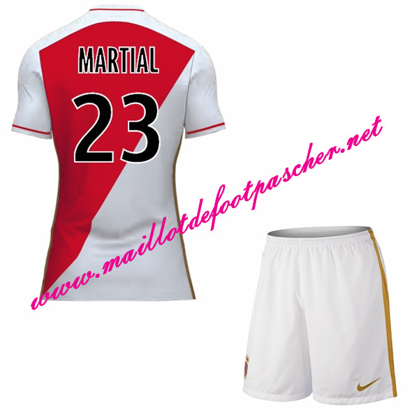maillots-fr: Officiel Nouveau Maillot foot AS Monaco Enfant Domicile 2015 2016 (MARTIAL 23)
