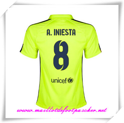 maillots-fr: La Liga Nouveau maillot foot Barcelone (A.INIESTA 8) Third Saison 2014 2015