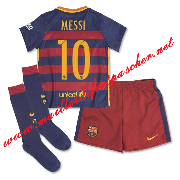 800d204092e80 maillots-fr: Officiel Nouveau Maillot foot Barcelone Enfant Domicile 10  Messi Bleu Rouge 2015