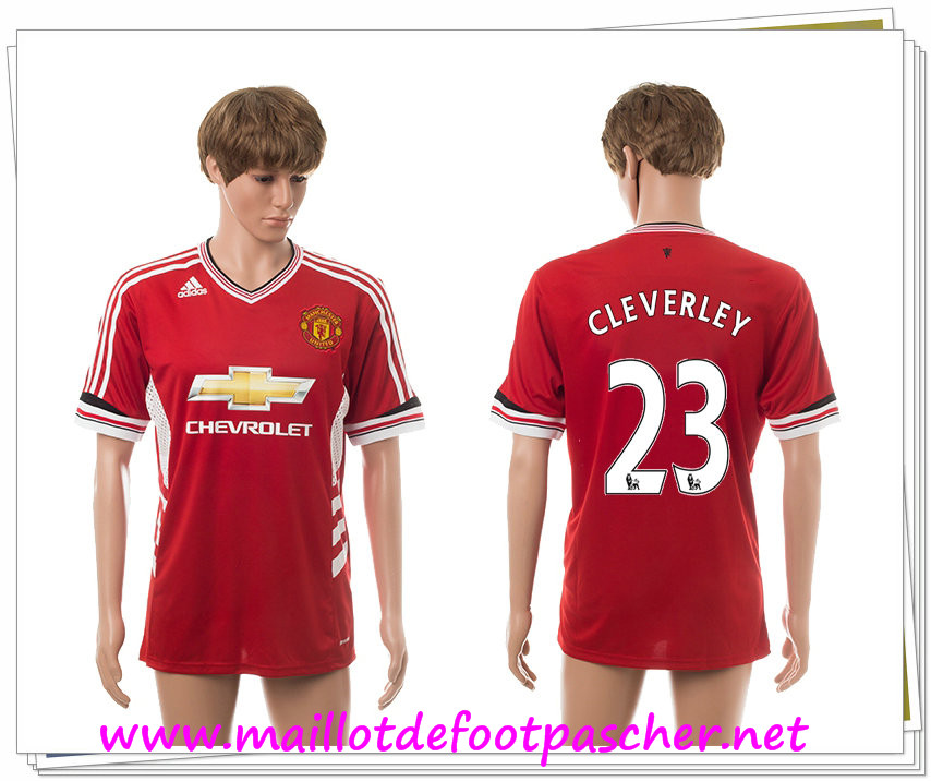 maillots-fr: Officiel Nouveau Maillot foot Manchester United Domicile 23 Cleverley 2015 2016