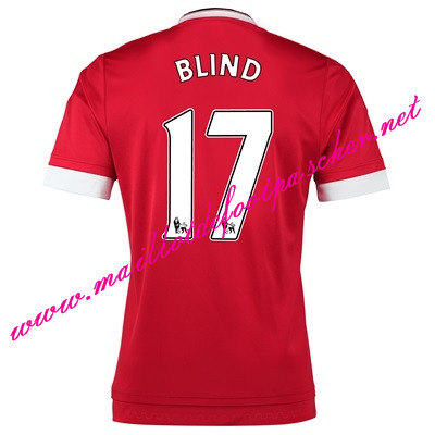 maillots-fr: Officiel Nouveau Maillot foot Manchester United Domicile 17 Blind 2015 2016