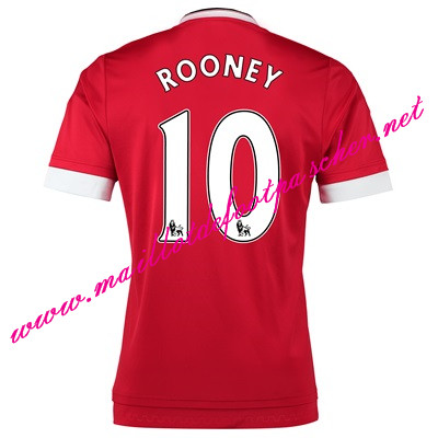 maillots-fr: Officiel Nouveau Maillot foot Manchester United Domicile 10 Rooney 2015 2016