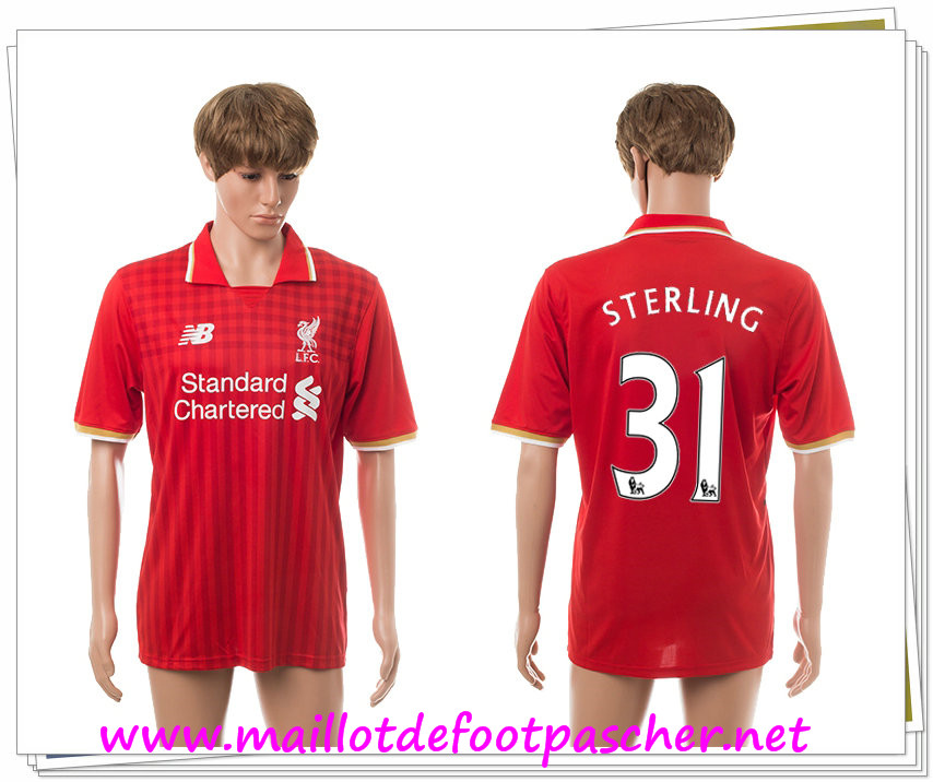 maillots-fr: Officiel Nouveau Maillot foot Liverpool Domicile 31 Sterling 2015 2016