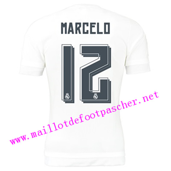 maillots-fr: Officiel Nouveau Maillot foot Real Madrid Domicile 12 Marcelo 2015 2016
