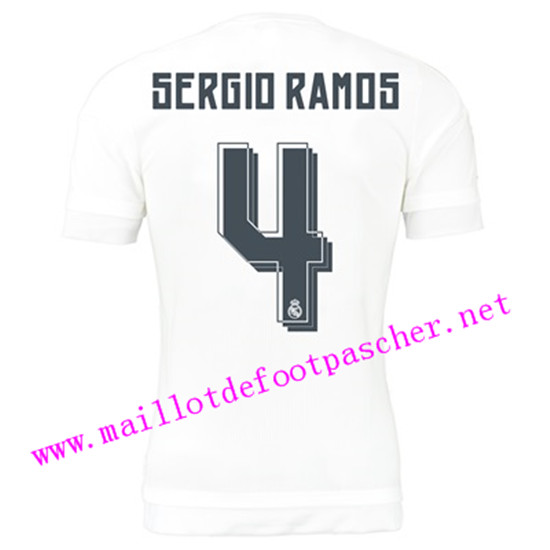 maillots-fr: Officiel Nouveau Maillot foot Real Madrid Domicile 4 Sergio Ramos 2015 2016
