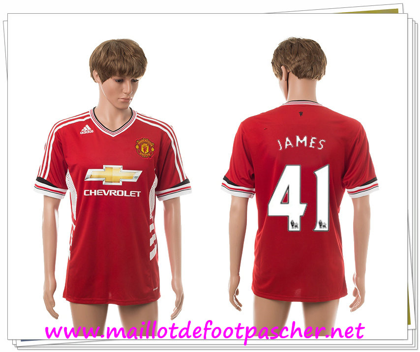 maillots-fr: Officiel Nouveau Maillot foot Manchester United Domicile 41 James 2015 2016