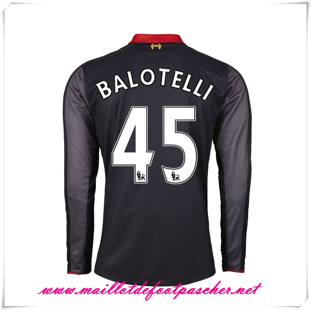 maillots-fr: Premier League Nouveau maillot foot Liverpool Third Manche Longue 2014-2015 (Balotelli 45)